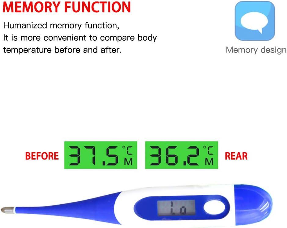 BonTime Thermom/ètre /électronique num/érique /à DEL thermom/ètre de mesure rapide sans mercure /à alerte sonore avec embout flexible pour nourrissons enfants et adultes