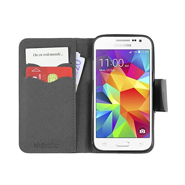 "ebestStar - Funda Compatible con Samsung Galaxy Core Prime SM-G360F, 4G G361F VE Carcasa Cartera Cuero PU, Funda Ranuras Tarjeta Stand, Negro + Cristal Templado [Aparato: 130.8x67.9x8.8mm 4.5""] 3"