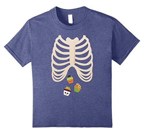 Sweet Cupcake Kids Costumes (Kids Halloween Skeleton Rib Cage Xray Sweets Cupcake Lover Tshirt 10 Heather Blue)