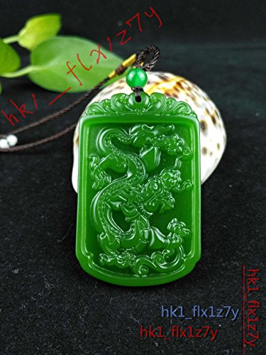 - 2018 Fashion Natural Green Jade Dragon Necklace Pendant Delicate Lucky Amulet Black rope