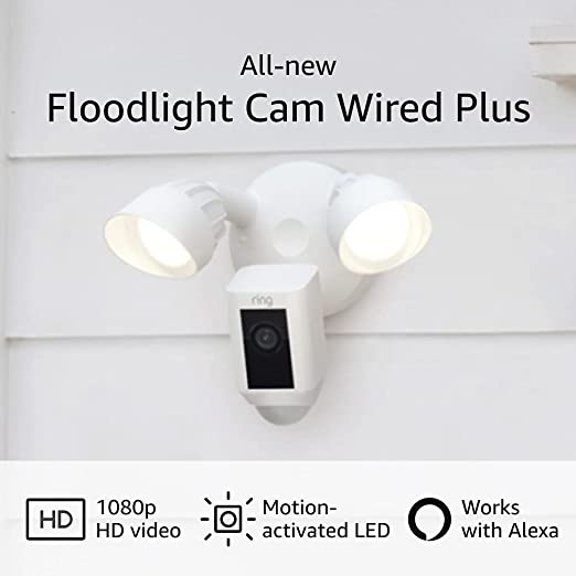 All-new Ring Floodlight Cam Wired Plus with motion-activated 1080p HD video, White (2021 release) | Amazon
