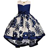 WEONEDREAM Pageant Flower Princess Girls Dresses for Parties Weddings Communications Prom Birthday Gifts Casual Occasion Bowknot Satin Sequin Tea Long Dresses for 5T 6T Girls (Ultramarine 120)