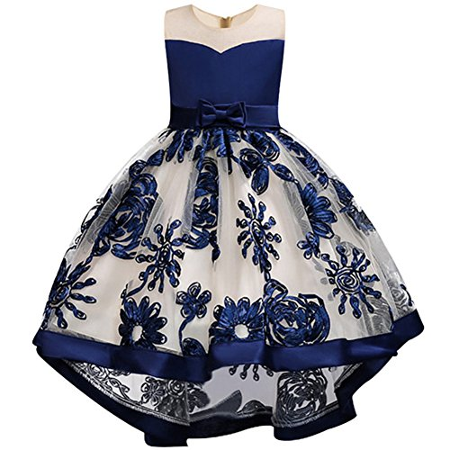 WEONEDREAM Flower Dresses for Teenage Girls Birthday Party Casual Holiday Prom Princess Ball Gowns Size of Age of 8-9 Years Old Teen Fashion Beauty (Ultramarine 140) -