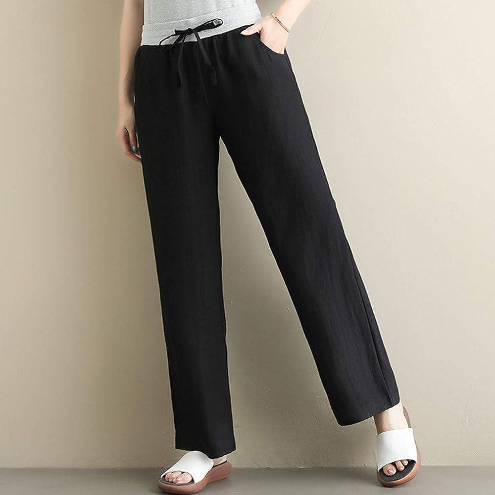 ღLILICATღ Pantalones de Mujer Vendaje, Pantalones de cordón Sueltos para Mujer Pantalones de algodón y Lino elásticos Pantalones Mujer Verano Anchos Pantalón Sueltos con Bolsillos: Amazon.es: Ropa y accesorios