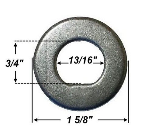 Trailer Spindle Washer, 3/4'' ID Flat ''D'' Shape #32402, #290-0233390