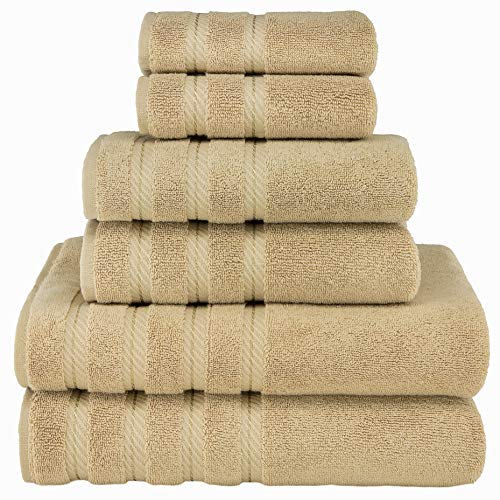 Premium, Luxury Hotel & Spa Quality, 6 Piece Kitchen and Bathroom Turkish Towel Set, Cotton for Maximum Softness and Absorbency by American Soft Linen, [Worth $72.95] (Sand Taupe)
