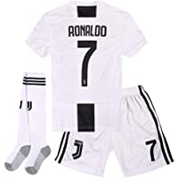 Allinsport Juventus #7 Cristiano Ronaldo 2018-2019 Home Kids/Youth Soccer Jersey &