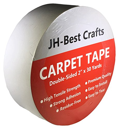 Carpet Seaming Tape - 90 Foot Roll for Mats, Rugs, Pads, Runners - Non Skid Anti Slip Two Sided Indoor Outdoor Carpet Seam Binding Tape, Grips Tile, Hardwood, Laminate Floor, - Runner Rug Craft