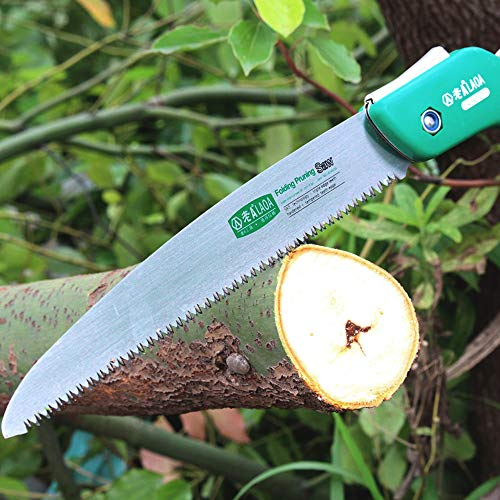 "LAOA 10"" Folding Hand Saw, Pruning Saws with Gloves Razor Tooth Sharp Blade Solid Grip for Tree Trimming Camping, Gardening, Hunting. Cutting Wood, PVC, Bone"