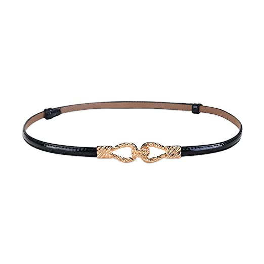 8d32a3fa7 Image Unavailable. Image not available for. Color: Ya Jin Women Girls  Adjustable Fashion Skinny Waist Belt Leather Gold ...
