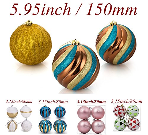 SANNO 5.95inch Large Christmas Balls Ornament, Decorative Baubles Delicate Painting & Glittering Shatterproof Decoration Luxury Collection Bronze/Gold for Xmas Tree Large Ball Ornament