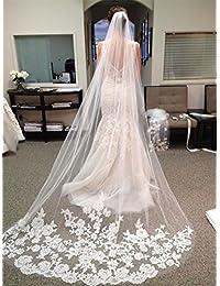Single Layer Wedding Veil Lianshi Bridal Veil Lace Embroidery Bride Supplies 3m (Off White)