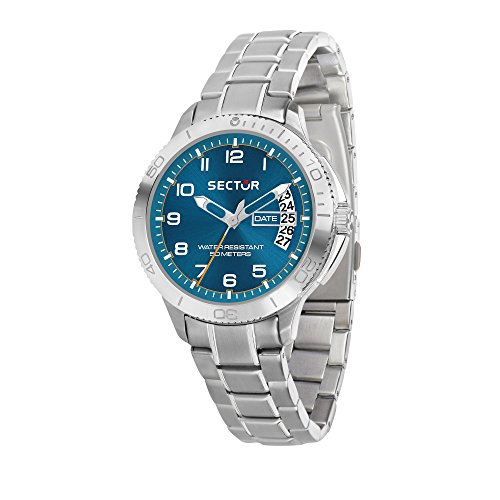 SECTOR Men's 270 Analog-Quartz Sport Watch with Stainless-Steel Strap, Silver, 18 (Model: R3253578009