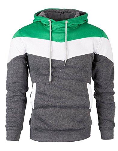 Mooncolour Mens Novelty Color Block Hoodies Cozy Sport Outwear -