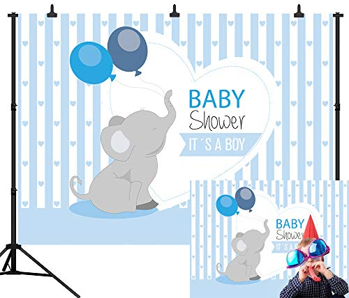 DePhoto 7X5FT(210X150CM) Blue Stripe Balloon Elephant Baby Shower