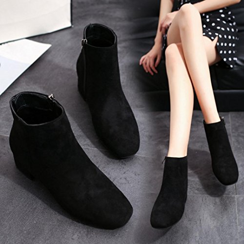 Toe Party Flock Boots Fabric Boots Retro Ankle Black Women Boots Round Fashion FALAIDUO Western Ladies IxAvwSqCq