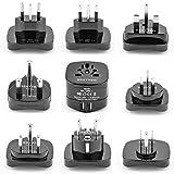 Bestten International Adapter Set with 2 USB Charging Ports 2.1A. Worldwide Travel Power Converters (US, UK, Europe, China, Australia, New Zealand, South Africa, India) Universal 9-Pc Pack