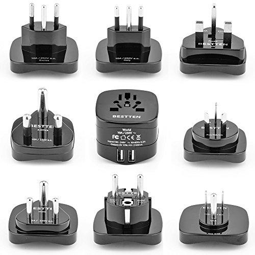Bestten International Adapter Set with 2 USB Charging Ports 21A Worldwide Travel Power Converters US UK Europe China Australia New Zealand South Africa India Universal 9-Pc Pack