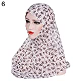 AkoMatial Chiffon Printed Chiffon Scarf Muslim Hijab Head Wrap Hat Shawl Headwear for Women