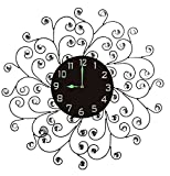 "Cheap Lulu Decor, Creeper Metal Wall Clock 25"", 9.5"" Black Glass Dial with Arabic Numbers, Decorative Night Dial Clock for Living Room, Bedroom, Office Space"