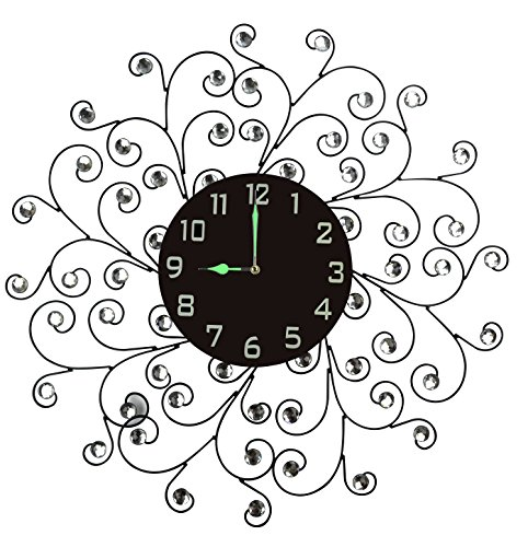 Accent Clock (Lulu Decor Creeper Wall Clock, Decorative Metal Wall Clock with Accents, Black Glass Dial in Arabic Numerals, Glass Dial 9.50