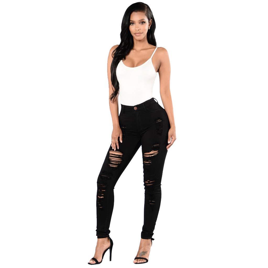 IEason Women Button Pockets Holes Mid Waisted Skinny Hole Denim Jeans Stretch Slim Pants Long Jeans Pants Trousers Black
