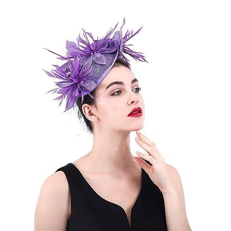 Wagsiyi Fermagli per Capelli da Donna Elegante Fascinator Cappello da Donna  Cocktail Halloween Cappello da Sposa eabdd58cb0f3