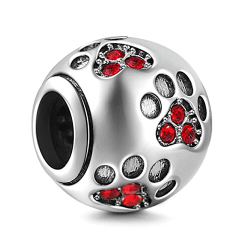 Dog Paw Print Charms 925 Sterling Silver Animal Birthstone Crystal Charms for 3mm Snake Chain Bracelets (Red) (Crystal Pandora Charms)