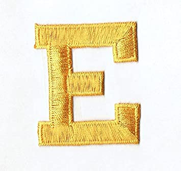 Amazon alphabet letter e color yellow 2 block style alphabet letter e color yellow 2quot block style iron on embroidered thecheapjerseys Choice Image