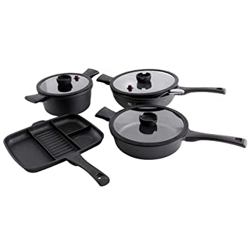 FELICIKK Juego de ollas Antiadherente Pan Restaurant Chef Calidad sartén sazonada Utensilios de Cocina para freír, saltear, cocinar (Color : Black): ...