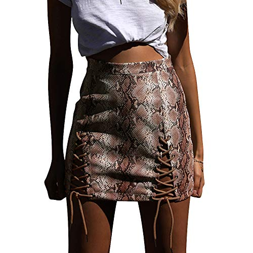 BTFBM Women High Waist Criss Cross Split Faux Leather Snakeskin Print A-Line Bodycon Mini Skirt (Khaki, Large)