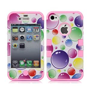Overfeel Rainbow Bubbles Black Dual Silicone Hard Case Cover for iPhone4 4S + with free stylus