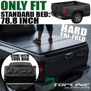 Topline Autopart Solid Tri Fold Hard Truck Bed Tonneau Cover With Tool Bag For 14-18 Chevy Silverado ; GMC Sierra 1500 ; 15-18 2500 HD/3500 HD/Denali 6.5 Feet (78