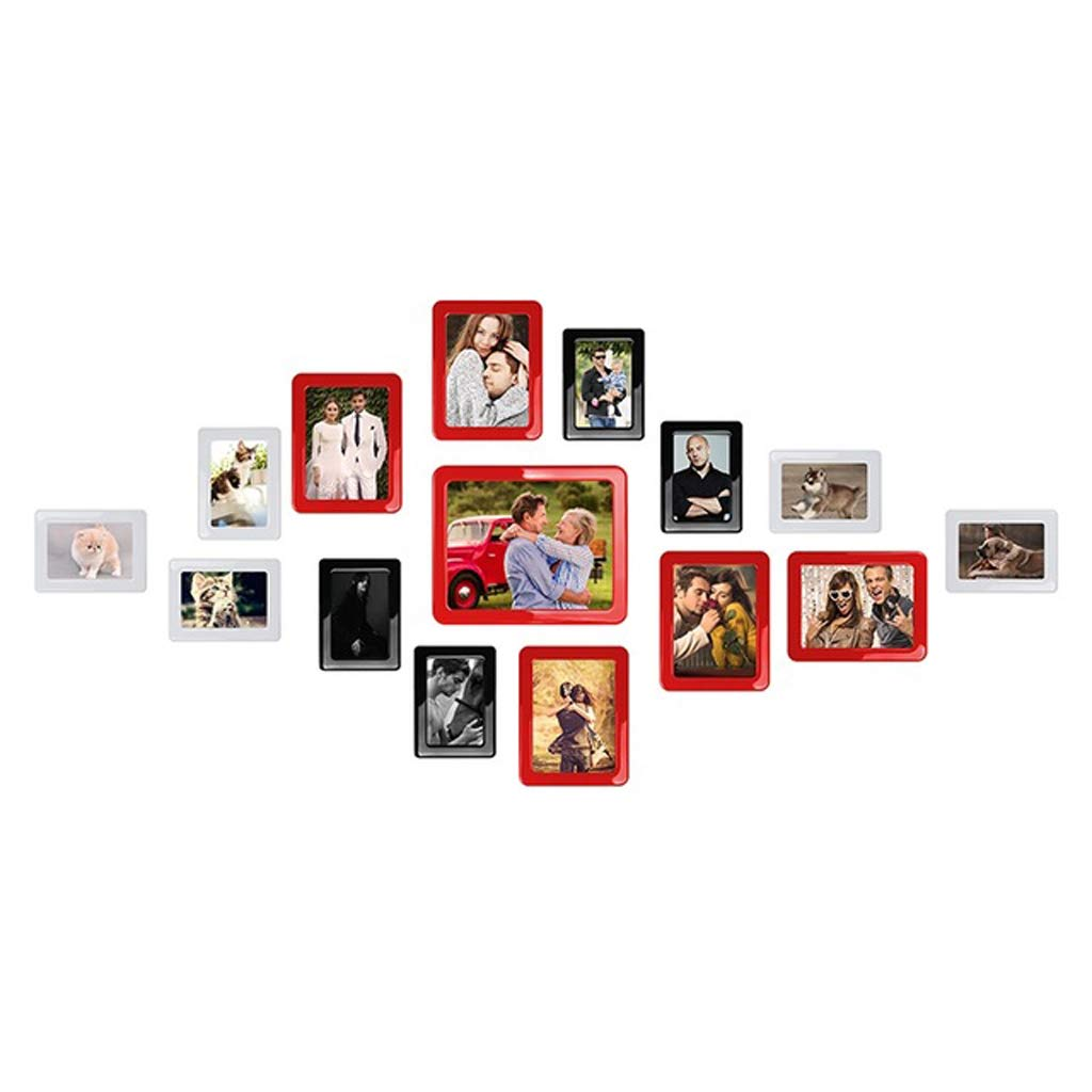Yxsd Magnetic Photo Picture Frames 6'' X 4'' 7 X 5 Inches Wall Decor Movable Magnetic Photo Frame Set 15 Pcs/Pack (Color : Red)