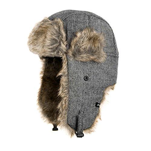 Jaxon Herringbone Trapper Hat (S/M, Grey)