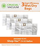 90663 shop vac - 3 Replacements for Shop-Vac Type G Bags Fit 15 - 22 Gallon Wet & Dry Vacs, Compatible With Part # 90663 & 90663-00, by Think Crucial