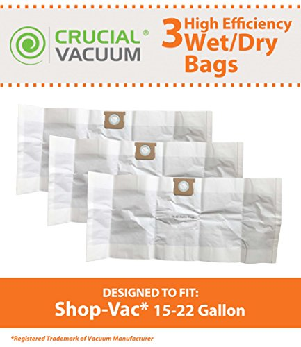 Think Crucial 3 Replacements for Shop-Vac Type G Bags Fit 15-22 Gallon Wet & Dry Vacs, Compatible With Part # 90663 & 90663-00 by Think Crucial