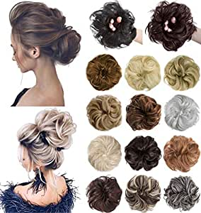 XBwig Messy Bun Hair Piece Extensions Wavy Curly Donut Scrunchie Chignons Synthetic Updo Wig Hairpiece for Women Platinum Blonde