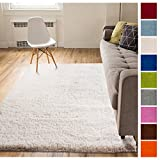 Solid Retro Modern Ivory Off-White Shag 7x10 ( 6'7'' x 9'10'' ) Area Rug Plain Plush Easy Care Thick Soft Plush Living Room Kids Bedroom