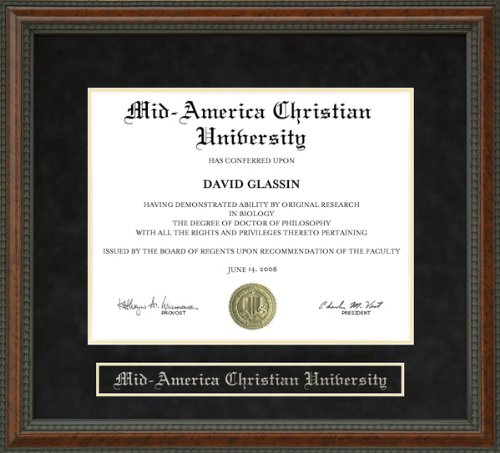Mid-America Christian University (MACU) Diploma Frame - Burl by Wordyisms