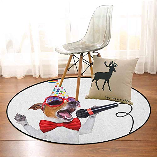 Popstar Party Non-Slip Absorbent Carpet Jack Russel Dog with Sunglasses Party Hat and Bowtie Singing Birthday Song Better underfoot Protection D39.7 Inch Multicolor