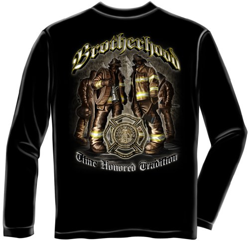 Firefighter Long Sleeve T-Shirts, 100% Cotton Casual Mens Shirts, Show Your Pride with our Time Hono Tradition Brotherhood Firefighter Long Sleeve Shirts for Men or Women (Medium)