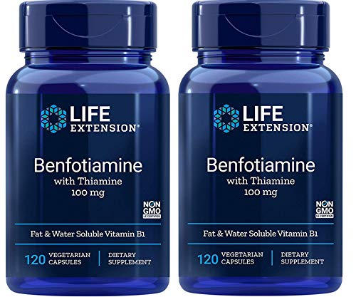 Life Extension Benfotiamine with Thiamine 100 Milligrams Fat & Water Soluble Vitamin B1 Dietary Supplement (120 Vegetarian Capsules) Pack of 2