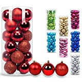AMS Christmas Ball Mini Ornaments Party Decoration Shatterproof Festival Widgets Pendant Hanging Pack of 24pcs (40mm, Red)