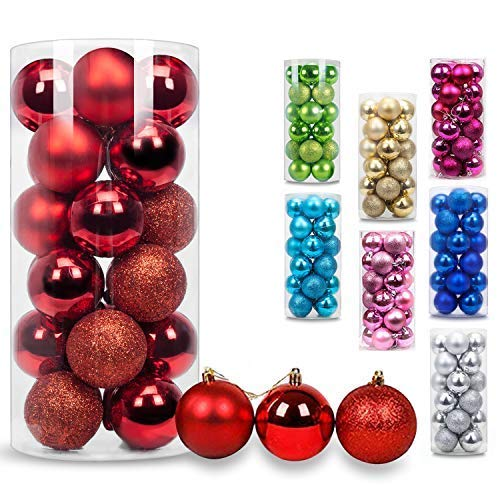 AMS Christmas Ball Mini Ornaments Party Decoration Shatterproof Festival Widgets Pendant Hanging Pack of 24ct (Red)]()
