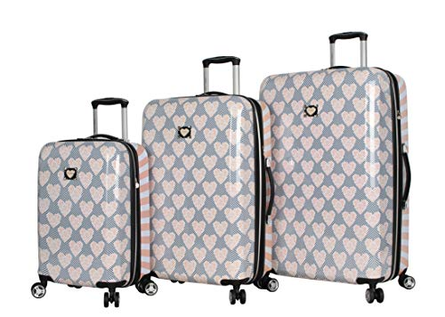 Betsey Johnson Luggage Hardside 3 Piece Set Suitcase With Spinner Wheels (20' 26' 30') (One Size, Stripe Floral Hummingbird)