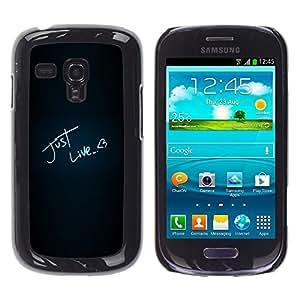 TECHCASE**Cubierta de la caja de protección la piel dura para el ** Samsung Galaxy S3 MINI NOT REGULAR! I8190 I8190N ** Just Like Love Heart Neon Text Black