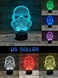 3D Night Light- Star Wars Storm Trooper- 7 LED Light Colors -3D Optical Illusion Night Light - For your bedroom office-Soft Glow-For kids and adults-Cool Light never gets hot-Safe for kids