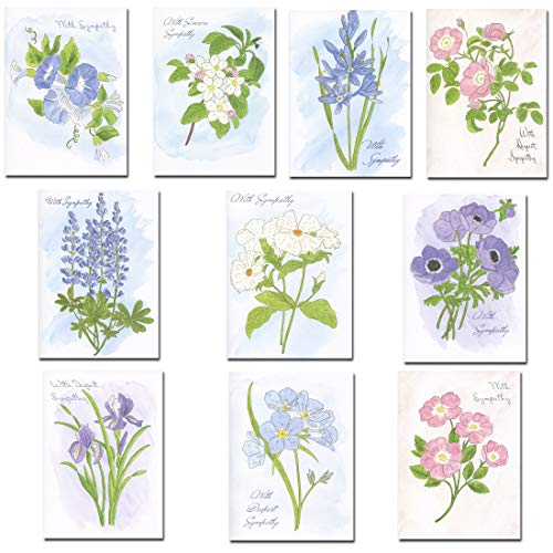 Sympathy Cards Assorted 30 cards w/messages inside (10 Designs) USA Made + 32 Envelopes (Card Assortment Sympathy)