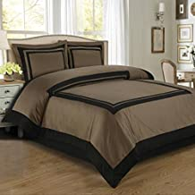 Egyptian Bedding Luxurious 3 Piece King Size Hotel Wrinkle Free Taupe and Black Duvet Cover Set, 100% Egyptian Cotton